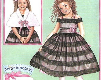 ON SALE Daisy Kingdom Simplicity 4062 Girls Off The Shoulder Dress & Capelet Pattern Size 3-6, UNCUT