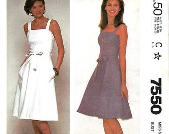 ON SALE McCall's 7550 Misses Quick And Easy Back Wrapped Jumper Or Sundress Pattern, 8, 10 & 14, UNCUT