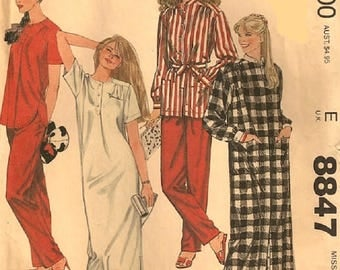 McCall's 8847 Brooke Shields Sewing Pattern, Misses Robe, Nightgown And Pajamas With Transfer, Size Small 10-12, UNCUT