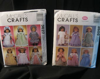 18 inch Doll Clothes Patterns, historical, McCall's 2609 and McCall's 3627 dresses, bonnets, pinafores, aprons, cape, muff, skirt, pantaloon