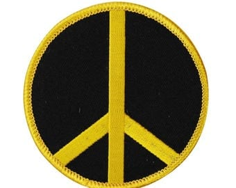 2 Inch Peace Sign Yellow on Black Iron-On Patch Hippie Symbol DIY Craft Applique