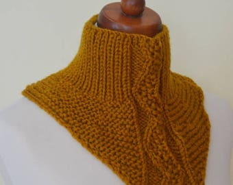 Infinity Scarf ,Knit Men's / Women Scarf, Mustard Color, Cowl Scarf, Men Cowl Scarf, Soft Openwork snood, gift for her, Christmas gift.