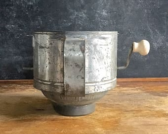 Vintage Tin Sifter Wood Handle AS IS Steampunk Display Assemblage Vintage Farm Kitchen