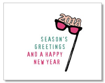 Happy New Year Card - Happy Holidays Card - Glasses on a Stick Card - Season's Greetings Card - Happy 2018 - Happy New Year's Card