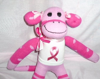 Breast Cancer Awareness Pink Sock Monkey Doll