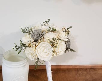 Wedding, Sola wood Bouquet, bride Bouquet, Grey Bouquet, bridesmaid  Bouquet,  Bridal Bouquet, Sola flowers, Wood Bouquet