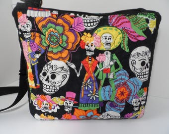 Quilted Dia de los Muertos crossbody bag with zipper closure, I pad, Kindle, tablet sling purse, messenger bag with padded pockets