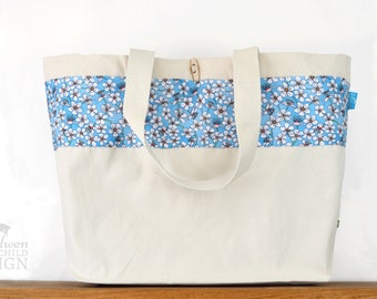Cherry Blossom Large Tote Bag, Blue Floral Canvas Tote, Reusable Shopper Bag, Shopping Bag, Eco Tote Bag, Reusable Grocery Bag