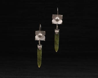 Silver and Jade Flower Earrings