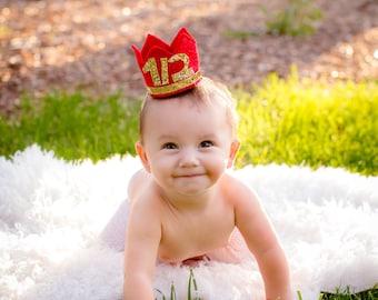 Mini Birthday Crown, Cake Smash, Birthday Crown, Mini Party Crown, Any Birthday number, Mickey Birthday, Half Birthday, Red and Gold