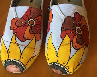 Sunflower & Poppy Hand Painted Flats *size 7*