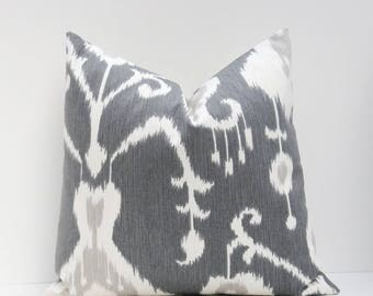 15% Off Sale IKAT pillow, Gray Pillow Cover,  Decorative  Pillow.Grey Ikat Pillow Cover ONE 18x18  Printed fabric on front and back