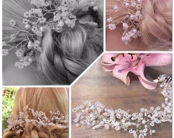 wedding hair vine gypsophila, Babys breath design, Bridal headpiece, Tiara, halo, crown,Bohemian, pearls, crystals,10/12/15/18 inches