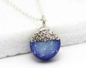 druzy necklace, blue druzy, layering necklace, round pendant, silver necklace, sterling silver, dainty, minimal jewelry