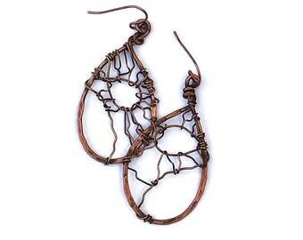 Copper Boho Earrings  Wire Wrap Jewelry  Unique Copper Earrings  Hammered Copper Earrings  Rustic Copper Earrings  Boho Earrings