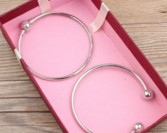 2 pcs raw Brass  plating  silver  bracelet   pendant finding