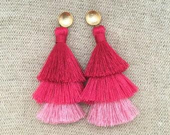Grace Drop Earrings, Pink Ombre Tassel Earrings, Triple Tassel Statement Earrings Brushed Gold Connector,Bridal, Weddings, Holiday, Gifting