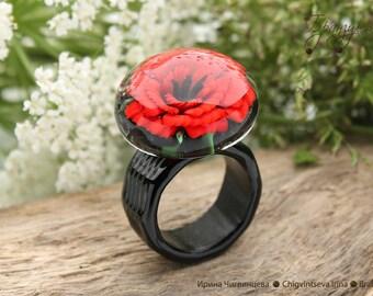 Poppy -  ring glass transparent artisan lampwork red flower black