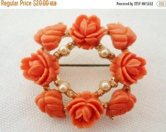 ON SALE Vintage Coral Celluloid Flowers Pearls Brooch, Goldtone, Circle, Collectible Jewelry, Pin, Bridal Brooch Bouquet