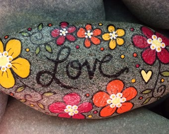 Happy Rock - LOVE - Hand-Painted Beach River Rock Stone - flower garden orange posy yellow pansy bee balm