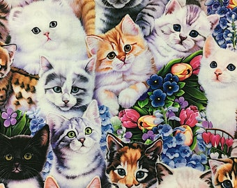 Kittens & Flowers - Cotton Fabric - David Textiles - CAT-03