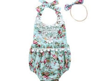 Mint Green and Pink and Flowers Floral Baby Girl Romper Sunsuit Bubble Sun Suit with Headband