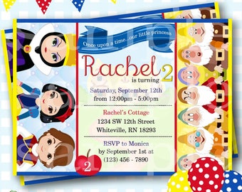 Snow White and the Seven Dwarfs Invitation, Snow White Invitations, Snow White and the Seven Dwarfs Party, Snow White Birthday Party - P942