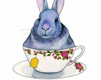 Watercolor Rabbit Art Print Watercolor Bunny Whimsical Tea Lover Gift Whimsical Animal Art Funny Kitchen Art Kitchen Wall Art Tea Art Print