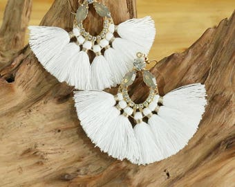 White Jewel Fan Tassel Earrings