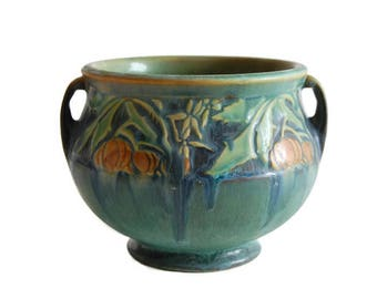 Roseville Baneda Jardiniere 626-4 Vintage American Art Pottery Arts & Crafts Curiopolis