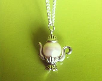 Silver Pendant chain necklace Pearl Pink genie lamp teapot