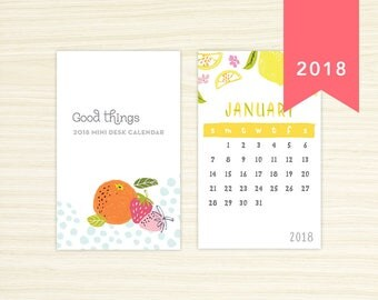 2018 Mini Desk Calendar - Fresh & Fruity