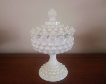 Vintage Fenton Hobnail Covered Footed Compote - Vintage White Hobnail Covered Candy Dish  - Fenton - Fenton Milk Glass - Candy Dish