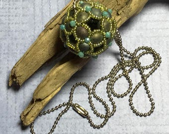 Green Beaded Pendant Beaded Ball Necklace Beaded Ball Pendant Green Ball Necklace Beadwork Pendant Beadwoven Pendant Beadwork Necklace