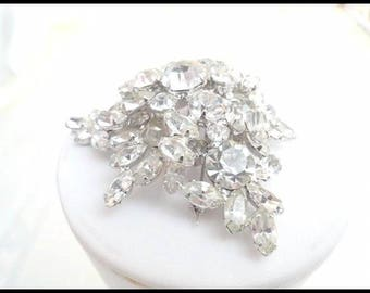 Must C Outstanding Vintage D&E Juliana Brooch - Juliana Lovely Clear Rhinestone  Brooch w Clear Chatons and Navettes  - Pin-483a-071317035