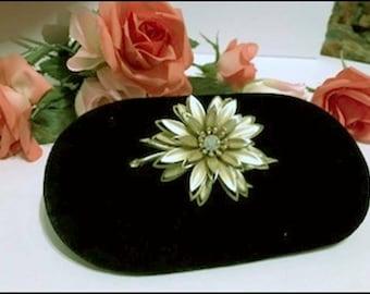 Stylish Vintage Goldtone Flower Brooch w Rhinestone Center- - Pin-1969a-072417015
