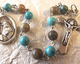 St. Rita Turquoise and Brown Rosary