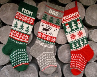 Set of 3 Christmas Stockings Personalized Hand knit Wool Red Green Gray White Blue with Gnomes Santa Deer Snowflakes Snowman