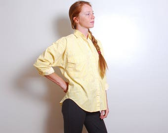 90s small yellow striped oxford button down womens long sleeve tunic top Calamity Jayne vintage collar blouse shirt double pocket
