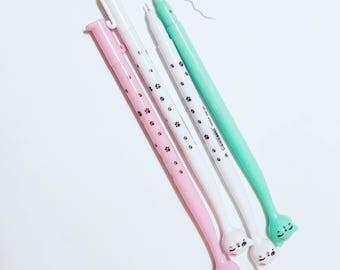 Cat pen -kawaii-school supplies-gel pen-Planner pen, cute cat, pink,mint,white