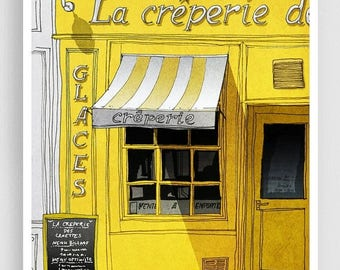 30% OFF SALE: Paris Art Print - La Creperie (yellow) - Paris Cafe Illustration Print Paris decor Home decor Nursery art Kids wall art Yellow