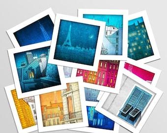 30% OFF SALE: Paris Mini prints, Set of 12 - Fine art illustration Prints Paris art Wall art Paris home decor Living room art Gift ideas for