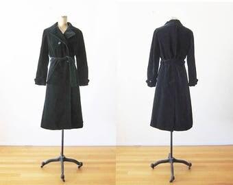 Black Velvet Trench Coat - Long Velvet Coat - Belted Black Coat - 70s Coat - Belted 70s Coat - Small
