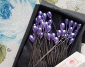 ON SALE 25% OFF Box of 144 Shiny Vintage Purple Sewing Stick Pins | Faux Pearl Hat Pins | Pear Shape