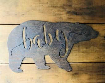 """Baby Bear - 6"""" Rusty Metal BABY BEAR - For Art, Sign, Decor - Make your own DIY Gift!"""