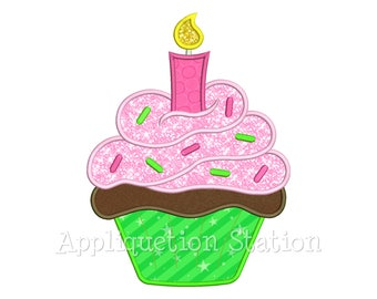Cupcake Birthday Candle Applique Machine Embroidery Design dessert cake party INSTANT DOWNLOAD