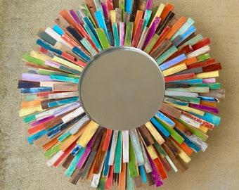 "XXL 34"" Colorful Reclaimed Wood Sunburst Mirror Art, Wood Art MADE to ORDER"