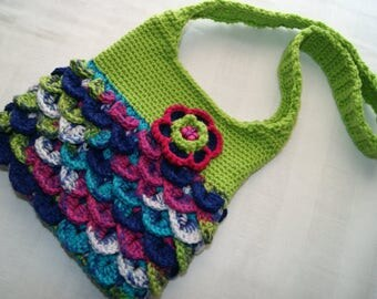 Girl's Crochet Purse - Small Shoulder Bag - Accessory for Girl - Crocodile Crochet Stitch - Cross Body Tote - Lime Green - Novelty Handbag