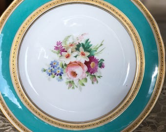 Dinner Plates,4 Continental Plates Hand Painted Floral Center Green Border Gilt Embellishments,Circa 1900, China Dishes,Cabinet Display