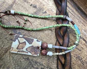 Artisan Ceramic Bohemian Ginkgo Biloba Necklace . Earthy Bohemian . Nature Healing Memory . Tribal Statement long Necklace . Porcelain Leaf